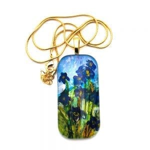Irises Inspired by Monet Hand Painted Glass Pendant Necklace