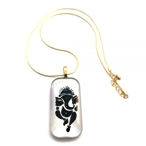 Lord Ganesh Handpainted Glass Pendant