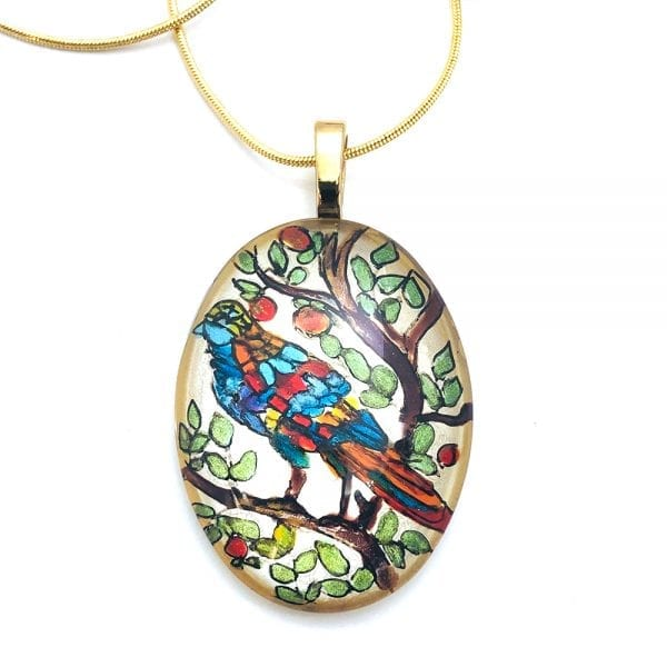 Stained Glass Bird Pendant