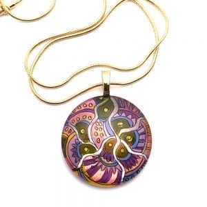 Zentangle Pattern Pendant Necklace by Sarita Kamat