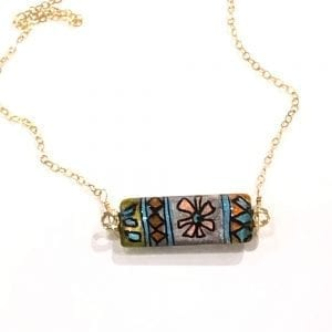 Geometric Glass Bar Pendant Necklace by Sarita Kamat